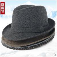 男士礼帽中老年人帽子男冬季保暖爸爸爷加厚春秋老爸帽子秋冬