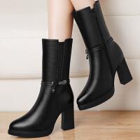 古奇天伦 冬季新款英伦马丁靴高跟防水台中筒靴圆头金属侧拉链女靴 8525