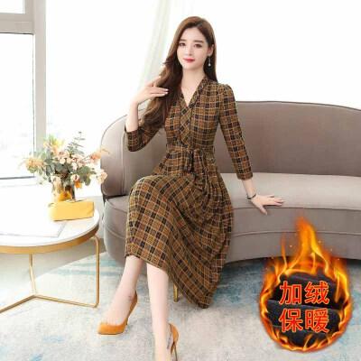 连衣裙 女士V领加绒加厚格子连衣裙2020年冬季新款韩版时尚潮流女式修身洋气女装打底裙 V领加绒加厚格子连衣裙