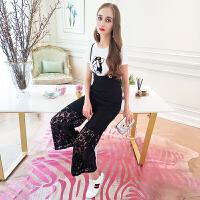 MIUCO欧洲站女装2018春夏新款小狗图案T恤+阔腿裤蕾丝背带裤套装