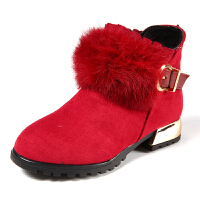 童鞋女童靴子秋季短靴新款公主棉鞋中大童雪地鞋加绒马丁靴 红色 26码/内长约16.0厘米