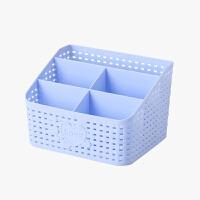 当当优品 仿藤编五格化妆品收纳盒 桌面杂物整理盒 蓝色