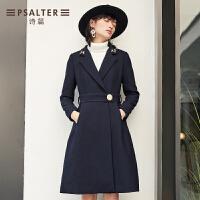 诗篇2017秋季新品时尚修身系带中长款大衣外套6C57380030