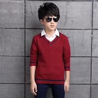 儿童装男童毛衣V领秋款羊毛衫套头中大童12-15岁加厚打底衫线衣