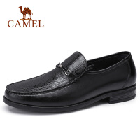 camel骆驼男鞋 秋季新款时尚男士正装皮鞋牛皮休闲套脚驾车鞋乐福鞋