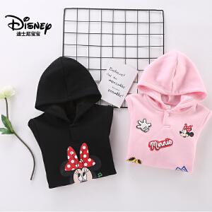 迪士尼宝宝重返学院女童不倒绒针织连帽卫衣2018冬款上新