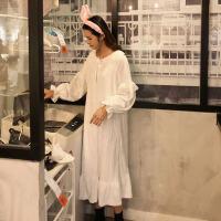 秋冬韩版宽松甜美闺蜜装中长款睡裙+睡衣睡裤两件套家居服套装女 均码