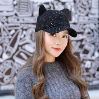 时尚毛线帽子女春秋冬季韩版潮休闲针织棒球帽可爱保暖鸭舌亮片帽