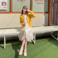 毛菇小象时尚套装女秋2019新收腰显瘦长袖气质连衣裙针织开衫外套