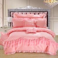 结婚被子喜被四件套婚庆床上用品六八件套全棉蕾丝1.8m床婚用红色