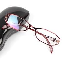 2018新款女士金属合金全框近视眼镜架精美镂空眼镜框平光镜老花镜 镜框+1.74凯米近视镜片