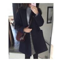 韩版季秋冬新款学生毛呢子大衣加厚小个子外套大码宽松中长款女