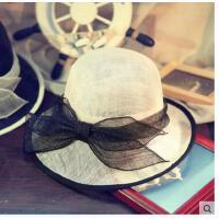 女士名媛 手工花朵网纱 亚麻纱复古贵 族礼帽子夏季遮 阳帽造型