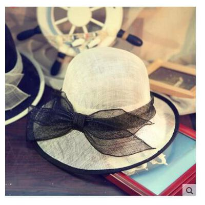 女士名媛 手工花朵网纱 亚麻纱复古贵 族礼帽子夏季遮 阳帽造型 品质保证 售后无忧 支持货到付款