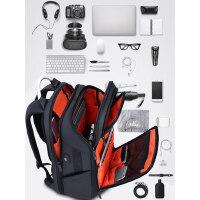 多功能商务双肩包男出差旅行包大容量17寸电脑包休闲书包简约背包