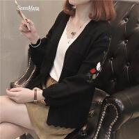 女士毛衣女装春装2018新款韩版短款绣花开衫毛衣女针织外套百搭潮