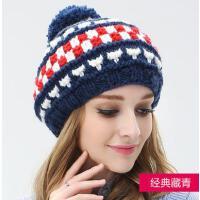 毛线帽子户外运动新品女网红同款时尚韩版时尚保暖针织帽 韩国女士休闲护耳帽韩版潮