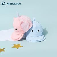 迷你巴拉巴拉帽子全棉针织2021夏季新款宝宝帽子鲨鱼造型文艺风