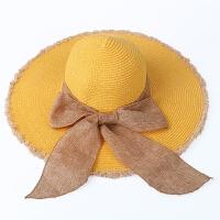 草帽女夏天韩版时尚大沿可折叠防晒遮阳太阳帽户外出游海边度假沙滩帽