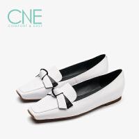 CNE春季新款日系小白鞋方头平跟平底舒适女单鞋 9T00801