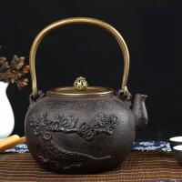 日本南部生铁壶 茶具烧水煮茶老铁壶铁壶铸铁泡茶纯手工无涂层日本铁壶铸铁壶无涂层 铁茶壶