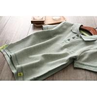 2018夏季童装新款男女童短袖polo衫 儿童纯棉短袖T恤中大童上衣潮 军绿色 领口黄条