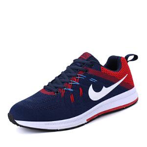 秋季男款透气运动鞋气垫鞋男 学生飞线跑步鞋旅游鞋男