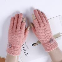 手套女冬季针织羊毛漏指珊瑚绒手套加厚两指男女触屏保暖连指手套 均码