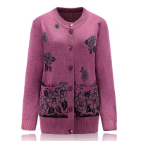 中老年女针织衫奶奶羊绒衫毛衣女装开衫外套秋冬妈妈装羊毛衫