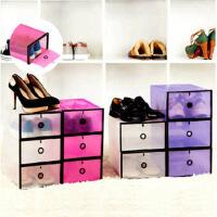 3只装低跟款鞋盒加大加厚鞋柜式透明鞋盒鞋子收纳盒防尘塑料整理箱简易鞋柜家用鞋子收纳盒颜色随机