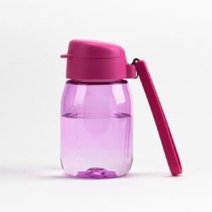 特百惠新品 嘟嘟企鹅杯350ML随手杯便携防漏迷你学生儿童塑料水杯 柔桃粉