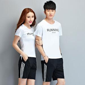 花花公子 夏装新款男休闲运动套装情侣装圆领短袖T恤韩版潮学生青少年男装