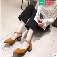 春季新款韩版尖头粗跟单鞋女浅口一字扣带高跟鞋玛丽珍女鞋潮