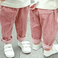 女童裤子春秋2017新款2岁3百搭6秋装7女宝宝灯芯绒4男童长裤5 粉红色 单裤