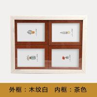 四连框5寸6寸7寸儿童连体相框木纹宝宝相框组合挂墙韩版情侣摆台 外木纹白 内茶色
