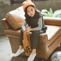 女童运动套装2018新款春装韩版时尚中童装洋气时髦儿童三件套潮衣 灰色