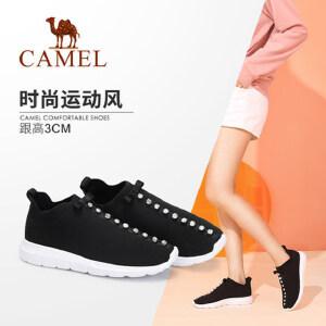 【满299减200元】骆驼女鞋新款秋季时尚舒适单鞋透气运动鞋女潮弹力鞋袜子鞋女