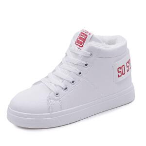 冬季新款加绒小白鞋女韩版百搭板鞋高帮保暖学生运动棉鞋