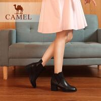 camel骆驼女鞋冬季新款短靴 时尚韩版百搭靴子女英伦风女靴