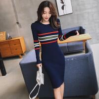 连衣裙 女士圆领条纹拼色套头针织衫2020年冬季新款韩版时尚女式修身洋气女装打底裙