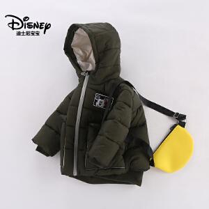 迪士尼宝宝森林探险男童梭织时尚棉服2018冬款上新