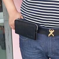 男士手机腰包横款穿皮带手机包牛皮长款拉链男手拿包新款