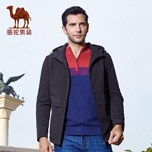 骆驼男装棉服 冬季新款时尚连帽修身日常休闲薄款外套棉衣男
