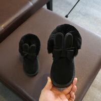儿童雪地靴女童新款2018冬季宝宝女1-3防水防滑棉鞋加厚加绒短靴 黑色 21码内长约13.5厘米