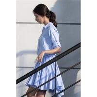 小个子韩版春夏季新款林允儿明星同款连衣裙小清新显瘦长袖a字裙百褶衬衫裙子 蓝色
