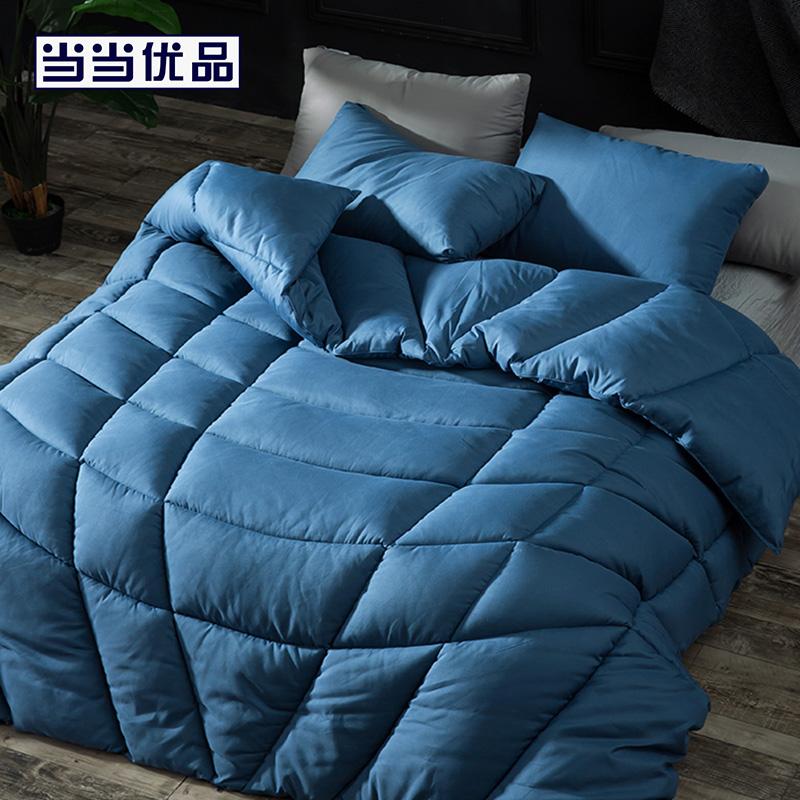 当当优品纤维被 保暖羽丝绒冬被春秋被芯 单人被子150*200cm 蓝色保暖羽丝绒冬被春秋被芯 单人被子150*200cm