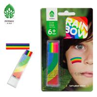 6色人体彩绘笔 彩虹条 无毒学生蜡笔宝宝涂鸦笔儿童画脸棒可水洗