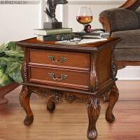 家具欧式实木床头柜美式床头柜复古乡村床头柜灯桌 仿古棕色 整装