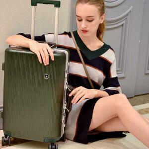 【支持礼品卡】USO复古铝框拉杆箱万向轮英伦风欧美旅行箱8178-26寸免费托运行李箱赠送箱套+贴纸