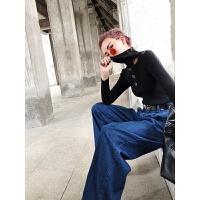 明星同款高领毛衣女秋冬2018新款韩版修身针织衫漏锁骨上衣打底衫 黑色 预售七到十天 均码